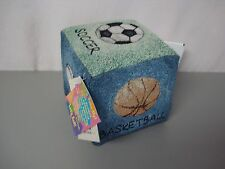 """USA Made NWT Sports Cube 5.5"""" x 5.5"""" Tapestry Cube Pillow #354"""