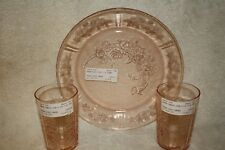 (2) Sharon Pink 9 ounce Thin Water Tumblers and (1) Sharon Pink Dinner Plate