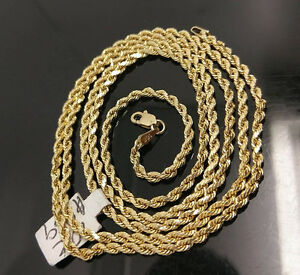 10K Gold Chain Solid Men Women Real Rope 3mm 18 20 22 24 26 28 Inch REAL