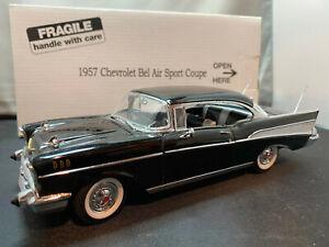 Danbury Mint 1957 Chevrolet Chevy Bel Air Sport Coupe Black 1/24 Scale Diecast