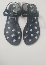 NWT Gap Girl Navy Blue  white Stars Jelly Sandals Shoes Sz: 4 buckle