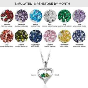 925 Silver Personalised Heart Necklace Pendant 2 Names Chain 2 Birthstones Gift