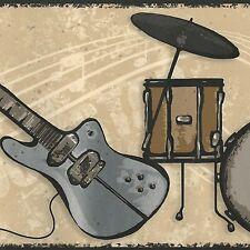 Rock Guitars, Amps & Drums Golden Brown - 60 feet ONLY $30 Wallpaper Border 507