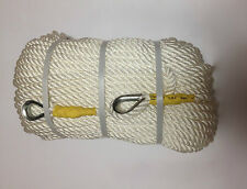 NEW 5/8 x 300 NYLON ANCHOR ROPE/ DOCK LINE WITH STEEL THIMBLE