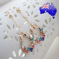 Christmas Bow Wreath Colourful Rainbow Crystal Gold Dangle Earrings XMAS Gift