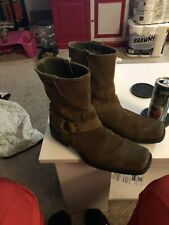 Skechers made in Italian Mens 7 Womens 8.5 Tan Suede Leather S-Toe Harness Boots