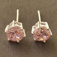 HOT SALE 9K White Gold Filled Pink Cubic Zirconia Ladies Stud Earrings F6052