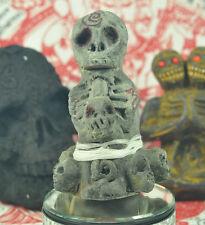 SCARY Prai Statue voodoo Skull Shut coin ghost Talisman magic Thai Wealth Amulet