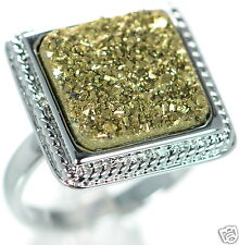 Solid 925 Sterling Silver Square Gold Color Druzy Cocktail Ring Size 8 '