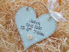 Shabby Chic Style Personalised New Baby Heart Plaque Gift Keepsake