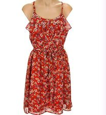 NEW $64 WOMENS ELLE FLORAL PRINT RED ALERT RUFFLE CHIFFON DRESS SIZE 16