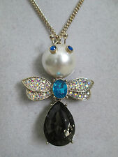NWT Auth Betsey Johnson Pearl Critters Bug Insect Long Pendant Chain Necklace