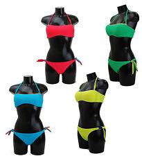 Moda Mare Costume Bagno Due Pezzi Bikini Fascia Strass Laccio Seno Slip