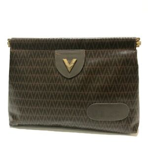 VALENTINO Vintage Logo Pouch Clutch bag Brown/GoldHardware PVC