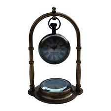 Unidecor Dolland London Nautical Maritime Brass Table/Desk Clock W/ Compass