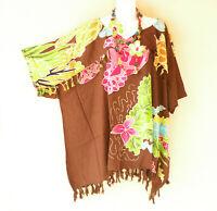 KB443 Brown Batik VNeck Plus Kimono Poncho Hippy Women Blouse Top up to 5X