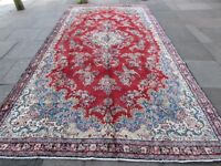 Old Traditional Hand Made Vintage Oriental Wool Red Long Carpet Runner 428x223cm