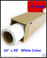 "USA 24"" x 98´ Roll White Color Printable Heat Transfer Vinyl For T-shirt Fabric"