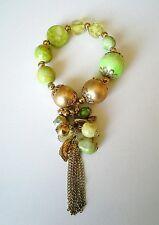 Retro Bracelet Green & Gold Beads Chain Tassel/Bead Charm Stretch Gold Plated