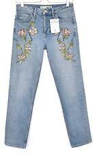 Topshop Straight Leg GIRLFRIEND High Rise Blue EMBROIDERED Jeans Size 8 W26 L32