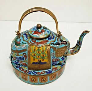 "Chinese Qing Bronze Cloisonne Turquoise Enamel 8"" H Elephant Teapot (circa 1900)"