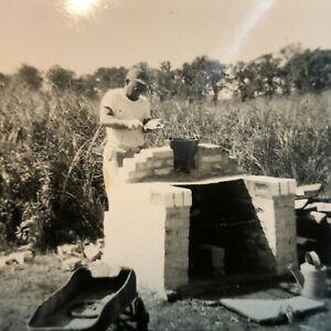 Vintage Real Photo Snapshot Tradesman Building Brick Stove BBQ Pit 1950s UNUSUAL