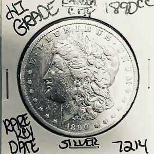 1890 CC MORGAN SILVER DOLLAR HI GRADE GENUINE U.S. MINT RARE KEY COIN 7214