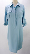 NWT Calvin Klein Light Blue Shirtwaist Ruched 3/4 Sleeve Shift Dress 6 M NEW