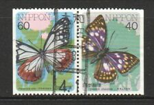 JAPAN 1987 INSECTS SERIES BUTTERFLIES CP8 SE-TENANT BOOKLET PANE 2 STAMPS USED