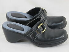 Clarks Black Leather Chunky Mules Size 7.5 M US Excellent Condition