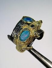 OPAL & SAPPHIRE ALLIGATOR RING size 7.25 - YELLOW GOLD/RHODIUM-plated 925 SILVER