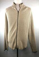 Woolrich Mens XL British-Tan Knit Full-Zip Longsleeve Sweater - Collar Khaki