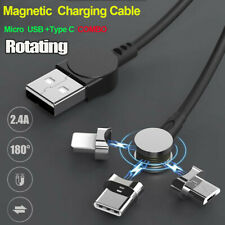 180° Rotating Magnetic ChargingCharger Cable Micro Type-C Cable Cord Sync Data