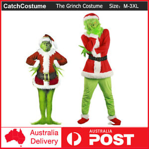 The Grinch Christmas Santa Xmas Costume Cosplay Mask Grinch Stole Suit Outfit