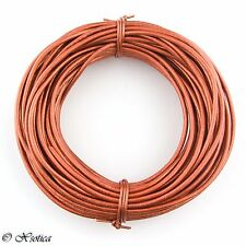 Copper Metallic Light Round Leather Cord 1mm 10 meters (11 yards)