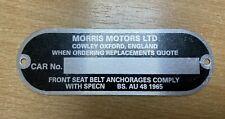 CLASSIC MINI MORRIS MOTORS LTD CHASSIS PLATE MK1/2 COOPER S DELUXE LEYLAND 2U7