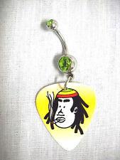 New Rasta Cap Bob Marley Cartoon Face Guitar Pick Lime Green Cz Navel Belly Ring