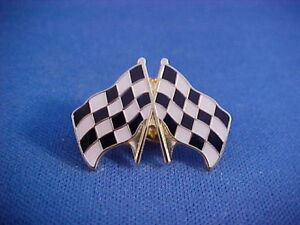 Motorcycle Moto Cross Checkered Flag jacket,hat pin/tie tack from new old stock