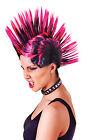 # Punk Rock Mohicano Peluca Mujer Rosa/Negro Música Accesorio para disfraz