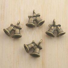 12pcs antiqued bronze couple bells design pendant G1565