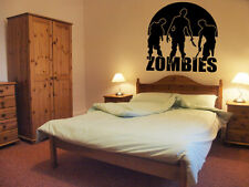 zombies wall art vinyl graphics large boys bedroom  novelty zombie attack killer
