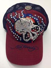 Ed Hardy Christian Audigier Rhinestone Skull Red Biker Baseball Cap Hat Trucker