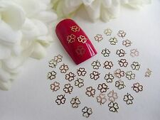 50 x Nail Art Rose Gold Lucky Flower Clover St Patricks Tiny Thin Metal Spangle