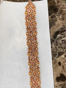 Handcrafted Beaded Bracelet Magnetic Clasp Pretty Oranges And Rose Gold