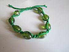 Handmade Shambala bracelet. Glass. Green. Present.
