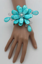 Women Bracelet Turquoise Blue Beads Big Flower Charm Elastic Cuff Band Jewelry