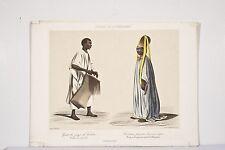 Litho XIX° Peuples de Sénégambie Griot du pays de Galam Costumes Sénégal 1846