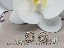 David Yurman Sterling Silver Infinity w/Morganite stone Cable Stud Earrings