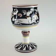 Italian Pottery Cama Deruta Siena Drinking Chalice Wine Goblet Black Deer Stag