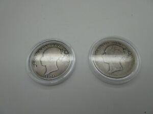 "Two Silver ""Bun"" Half Crowns Bun Head - 1874 and 1985(?) Victoria"